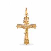 9ct Gold Small Crucifix on flared Cross Pendant 1.2g